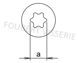 Empreinte-Vis-pour-agglomere-tete-fraisee-torx-filetage-partiel