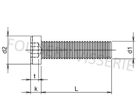 Plan-Vis-metaux-tete-cylindrique-basse-hex-creuse-filetage-din7984