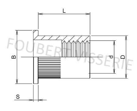 1-Plan-Ecrou-a-sertir-cylindrique-tete-plate-molete-ouvert-acier