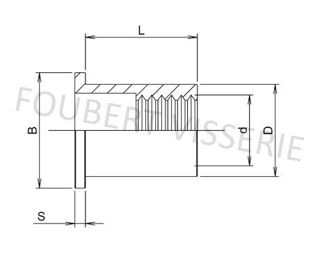 1-plan-Ecrou-a-sertir-cylindrique-tete-plate-lisse-ouvert-aluminium