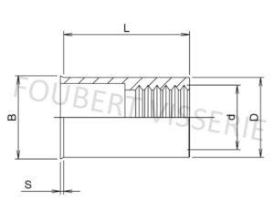 1-plan-Ecrou-a-sertir-cylindrique-tete-reduite-lisse-ouvert-acier