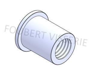 Ecrou-a-sertir-cylindrique-tete-plate-lisse-ouvert-aluminium