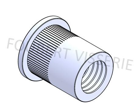 Ecrou-a-sertir-cylindrique-tete-plate-molete-ouvert-acier